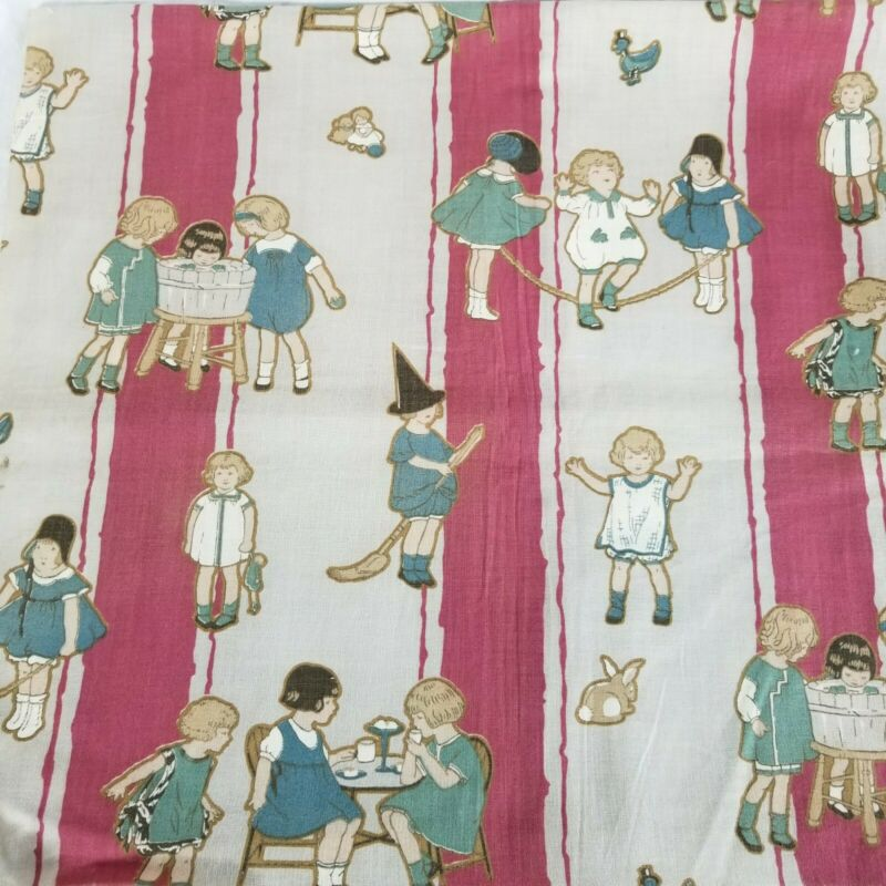 "Antique 1920 Children at Play Fabric 34""w x 30""l"