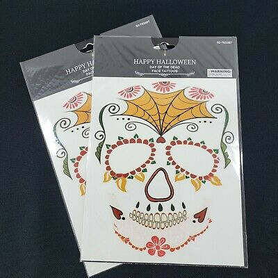2 Halloween Day of the Dead Face Tattoos Temp Dia de los Muertos Party Favor