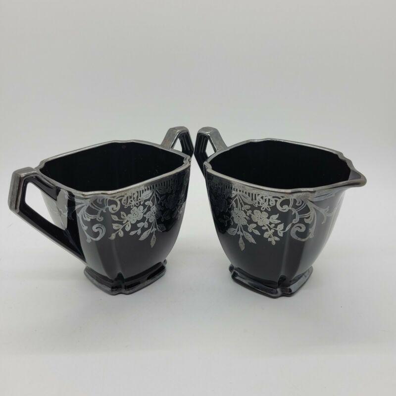 Black Amethyst Art Deco Open Sugar & Creamer