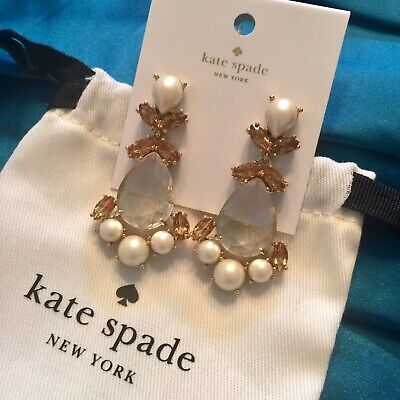 STUNNING KATE SPADE NY PRINCESS PALACE GEMS DROP BRIDAL PEARL EARRINGS HUGE NEW