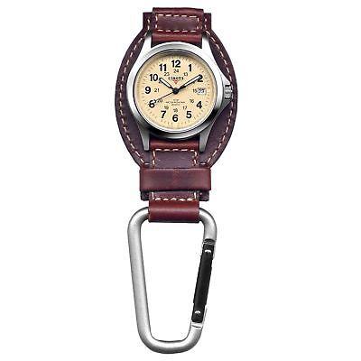 Dakota Watch Company Field Clip Hanger Watch Brown Leather Water Resistant