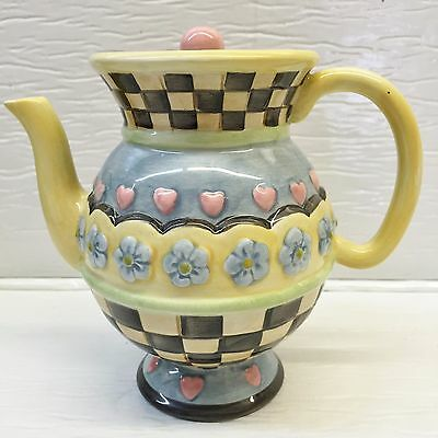 Sakura China Teapot Yellow & Blue Hearts & Flowers