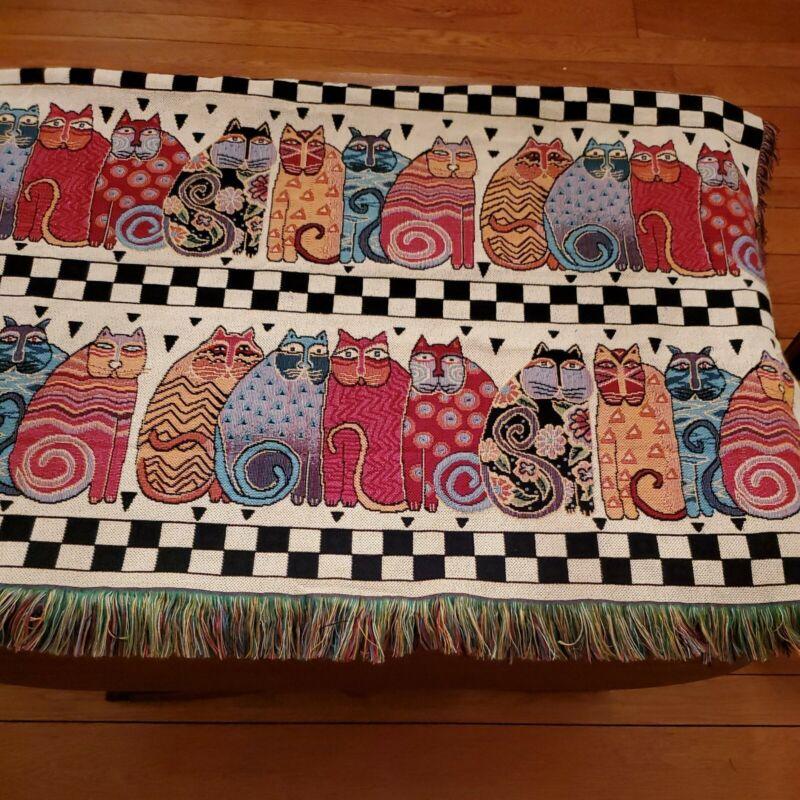 Rare Laurel Burch CAT Tapestry Throw Afghan Blanket with Fringe FELINE Family