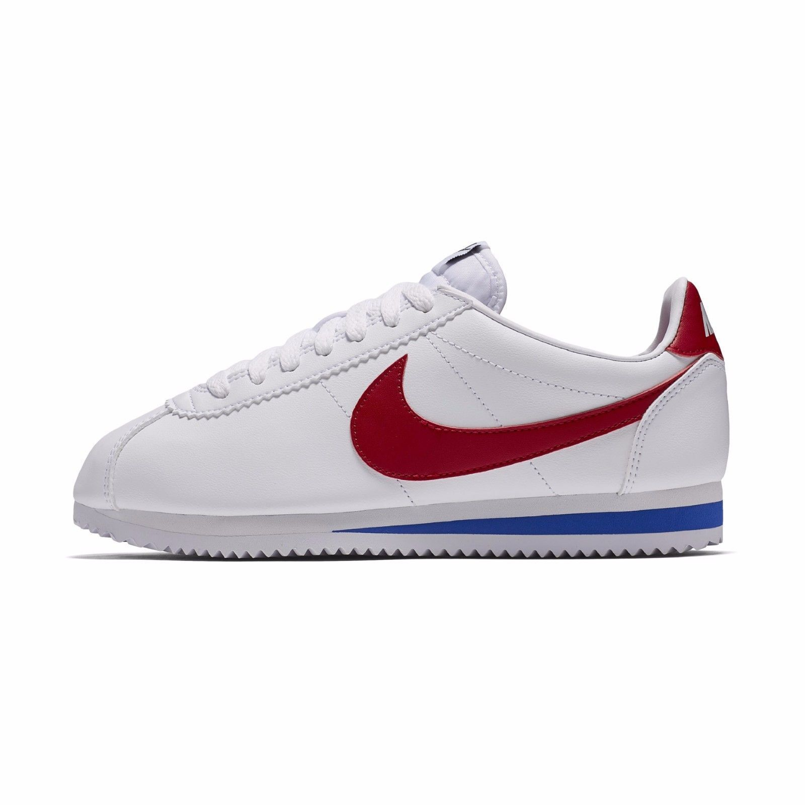 New Nike Women's Classic Cortez Leather Shoes (807471-103)  White//Var Red-Royal
