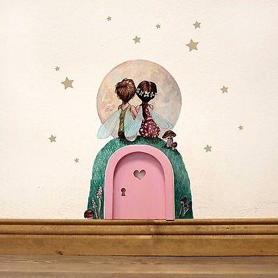 r Feentür  mit Wandtattoo Elfenpärchen mit Mond und Sterne e10 (Sterne Und Mond Dekoration)