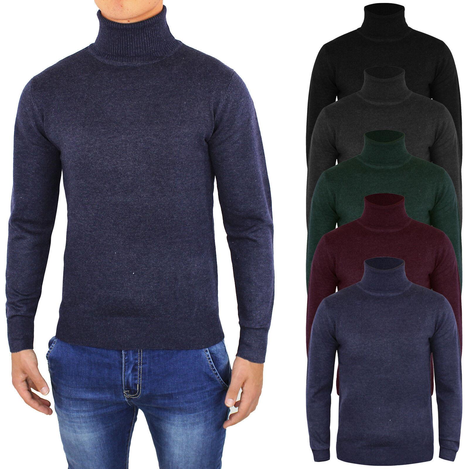 Maglione uomo Lana Maglioncino Collo Alto Slim Fit Cardigan Invernale Pullover