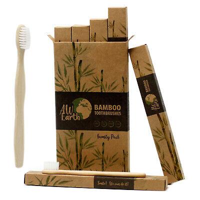 Pack of 4 Bamboo Toothbrushes Eco Zero Waste Medium Soft -VEGAN- VEGETARIAN