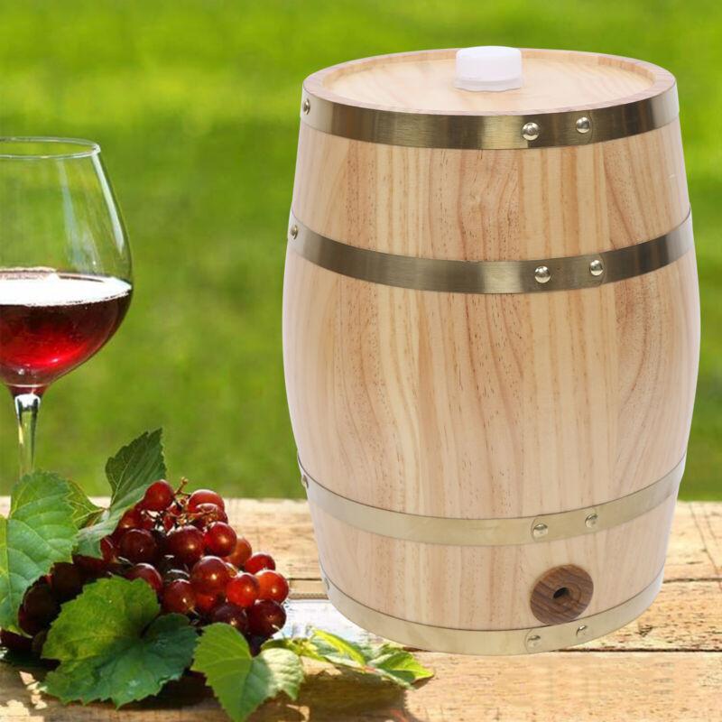 10L Pine Wooden Barrel Whiskey Wine Can Liquid Storage Spirits Rum Wine Barrel