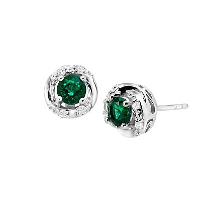 1 ct Created Emerald & White Sapphire Stud Earrings in Sterling Silver