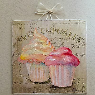 "Shabby Paris French Sweet Cupcakes Plaque Wall Decor Distressed  8""x 8"""