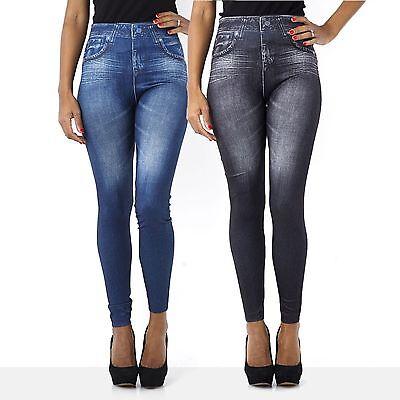 Leggings pantaloni effetto jeans leggins pantacollant donna tg unica blu nero
