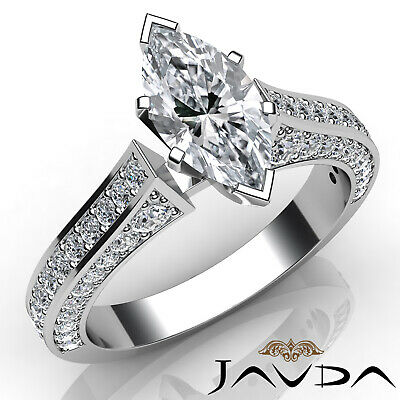 Micro Pave Set Marquise Diamond Engagement Ring GIA Certified I Color SI1 2 Ct