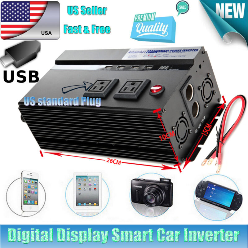 Car Power Inverter 2000W/4000W WATT Charger 12V DC To 110V AC Adapter Converter