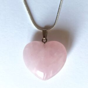 Rose Quartz Crystal Heart Pendant 25mm with 20