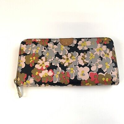 Floral Womens Wallet (Fossil Womens Wallet Zip Around Accordion Multicolor Floral Print Pink Brown)