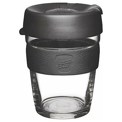 KeepCup Brew Reusuable Glass Coffee Cup Mug with Silicone Band 340ml 12oz, Black