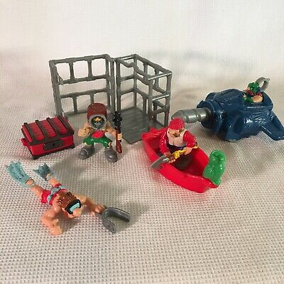 Fisher Price Great Adventures Pirate Divers Cage Boat Lot