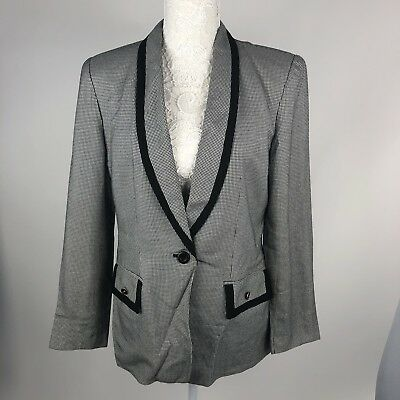 VTG Kasper ASL Ladies Jacket Houndstooth Blazer Womens Black white Office Sz 10