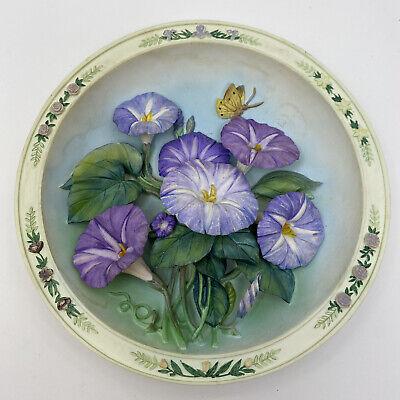 Vtg 1997 Lena Lu MORNING GLORY GARDEN 3D Jeweled Collector Plate  Bradford