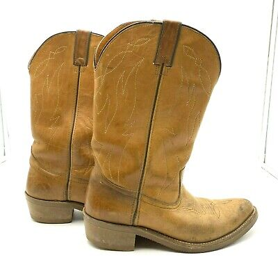 Double H Boots Mens Shoe Size 10D Cowboy Tan Distressed Western Vintage 1317 HH