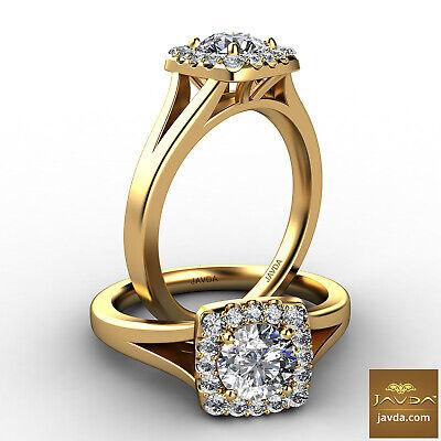 Halo French U Pave Round Diamond Engagement Split Shank Ring GIA H VS2 0.92 Ct
