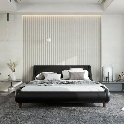 Bed Frame PU Leather Platform Foundation w/ Wood Slats Headboard QUEEN SIZE