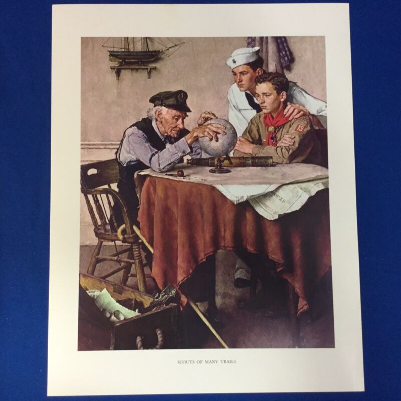 """Norman Rockwell Boy Scout Print 11""""x14"""" Scouts Of Many Trails"""