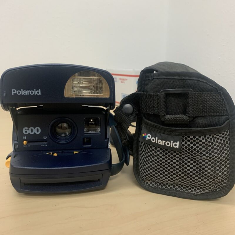 Polaroid 600 One Step Express Blue Instant Film Camera Vintage W/ Bag Tested