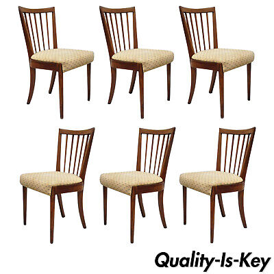 Spindle Back Cherry - 6 Vtg Mid Century Modern Cherry Spindle Back Dining Chairs by Paramount Furn.