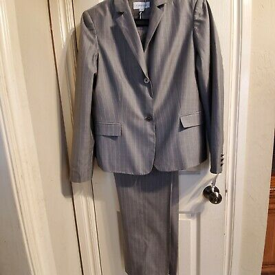 New Calvin Klein Women's Lightweight Gray Business Pants Suit 14