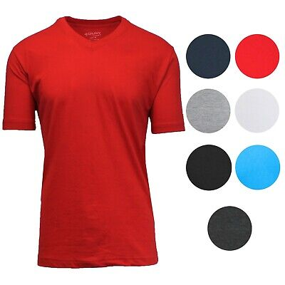 Mens Short Sleeve V-Neck T-Shirts Solid Colors Lounge Active Undershirt (Short Sleeve V-neck Undershirt)