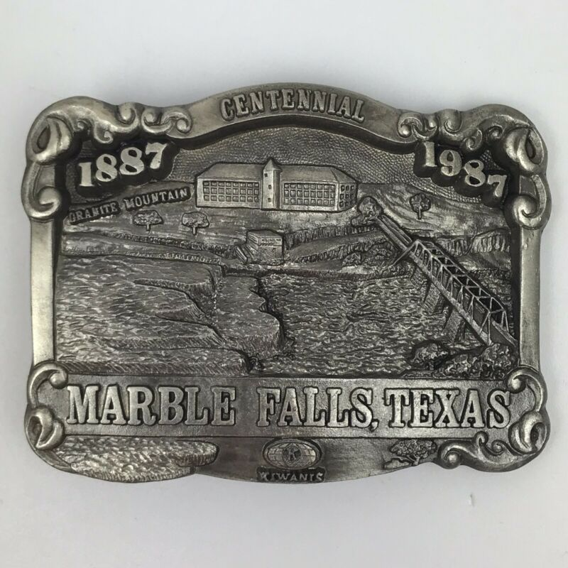 Kiwanis Marble Falls Texas Pewter Belt Buckle Centenial 1887-1987 Vintage SW