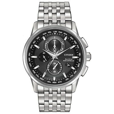 - Citizen Eco-Drive Men's World Time Black Dial Silver-Tone 43mm Watch AT8110-53E