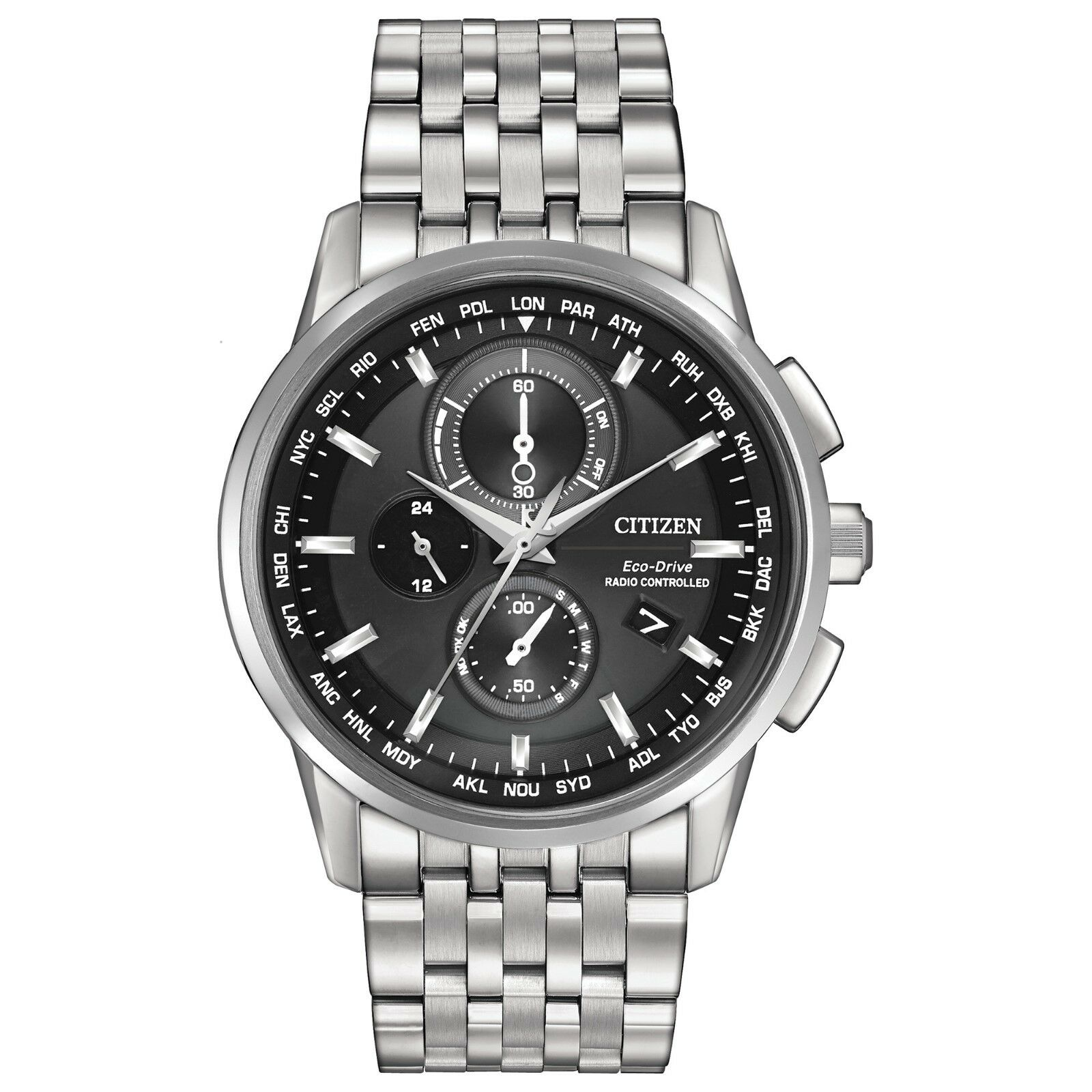 Citizen Eco-Drive Men's World Time Black Dial Silver-Tone 43mm Watch AT8110-53E
