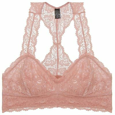 2 Piece Mesh Bustier - 2 Pieces: Racerback Lace Un-Pad Mesh Bralette Bustier Top Sheer Wireless Nude M