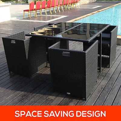 5pc Outdoor Furniture PE Wicker Dining Table Setting Garden Patio Rattan Set