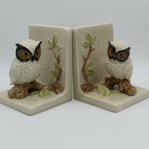 Pair Vintage Hand Painted Porcelain Owl Bookends Otagiri OMC Japan Branch Leaves