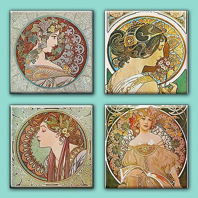 Art Nouveau Alphonse Mucha Illustration Tile Ceramic Coasters (Set of 4) 4.25""