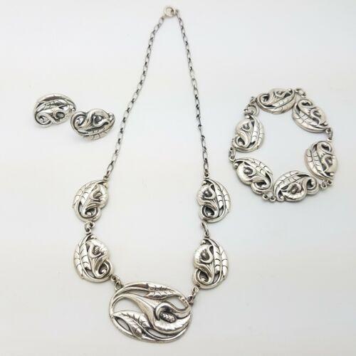 Danecraft Sterling Silver .925 Necklace Bracelet Earring Set 41.1g, Vintage