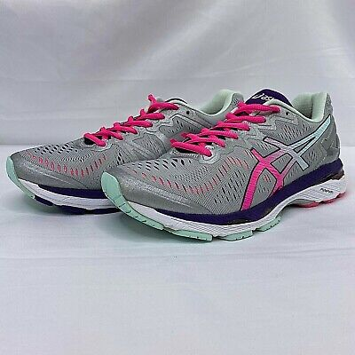 Asics Gel-Kayano Running Shoes Women's Size 8 D Wide Silver Pink Purple T697N