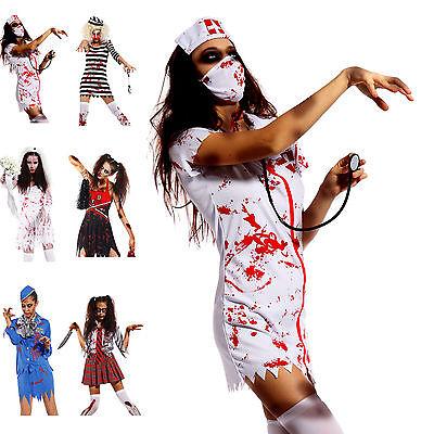 Zombiekostüm Mädchen Kostüm Fasching blutige Flugbegleiterin Braut Mottoparty