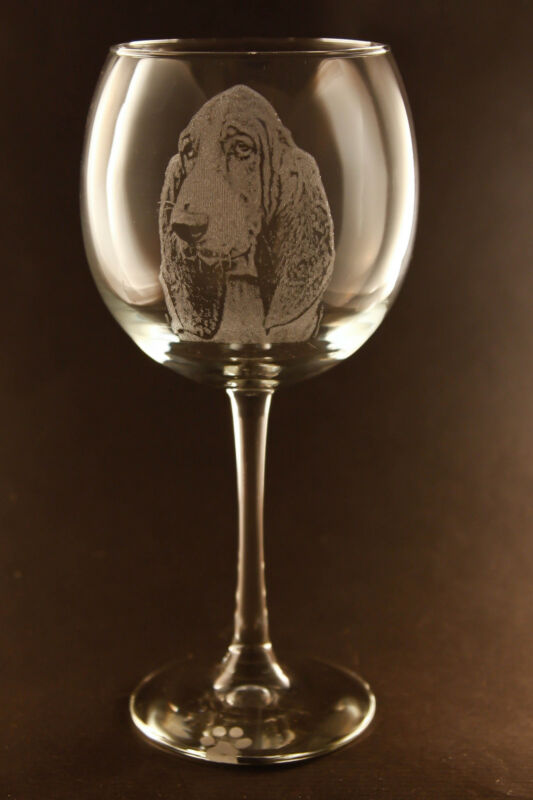 New! Etched Basset Hound on Large Elegant Wine Glasses - Set of 2