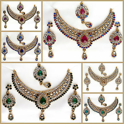 Ethnic Indian Kundan Gold Necklace Earrings Set Wedding Bridal Fashion Jewellery