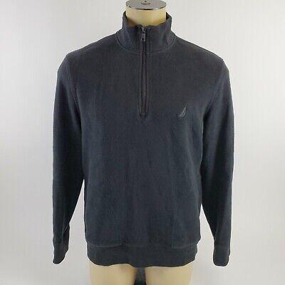 Nautica Men's Sweater L 1/4 Zip Black Gray Soft Cotton Side Pockets Long Sleeve