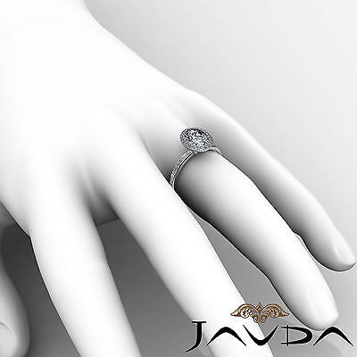 2 ct Oval Diamond Vintage Engagement Halo Classic Ring H VS2 14k White Gold GIA 5