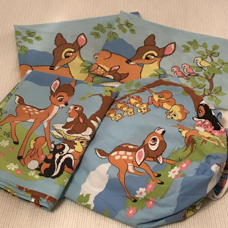 """Vtg Disney Bambi Sheets Set Full Size 1 Fitted 1 Flat 2 Pillowcases 70s """"Flaws"""""""