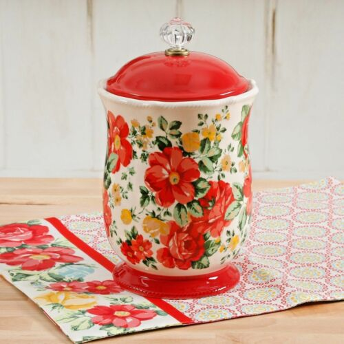The Pioneer Woman Pioneer Vintage Floral Canister w/ Acrylic Knob Red Farmhouse