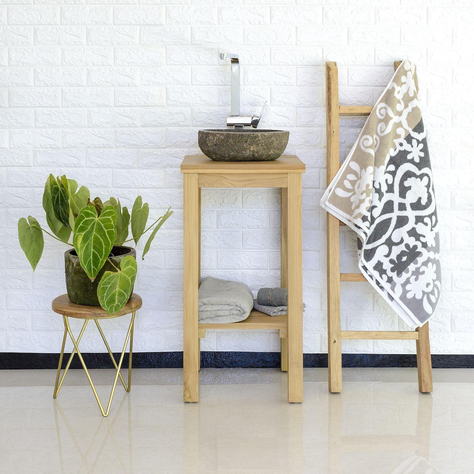 wohnfreuden Waschtisch SMINI lasiert aus Teakholz 38x38x80 cm Unterschrank Holz