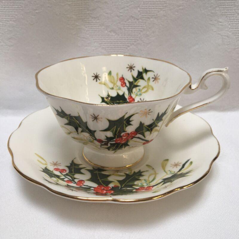 "Vintage Royal Albert Bone China ""Yuletide"" Made In England Teacup And Saucer"