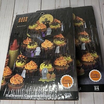 NEW Sweet Creation Halloween Cupcake 3 Tier Display Stand Lot of 2 - Halloween Sweets Wholesale